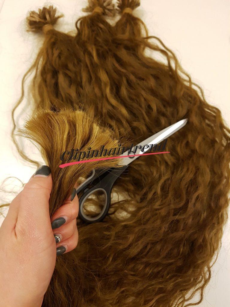 2. Elhasznált keratin levágása a hajról